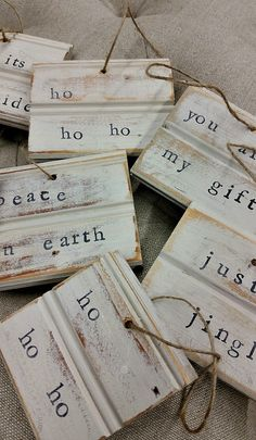 Designs For Garden Flower Beds Reclaimed Wood Beadboard Christmas Ornaments Or Gift Tags Etsy Christmas Wood, Christmas Quotes, Christmas Signs, Diy Christmas Ornaments, Christmas Balls, Homemade Christmas, Diy Christmas Gifts, Christmas Projects, Holiday Crafts