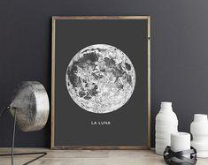 Full Moon Poster La Luna Printable Full por DesignersForeverShop