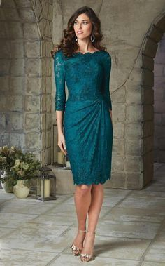 Elegant Purple/Teal Mother of the Bride Lace Dresses Knee Length with 3/4 Sleeves Beaded Brides Mother Dresses Plus Size 2015-in Mother of the Bride Dresses from Weddings & Events on Aliexpress.com   Alibaba Group