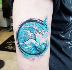 Circular Watercolor Wave Tattoo by Joanne Baker More