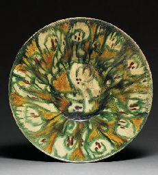 A LARGE SAMARKAND CONICAL POTTERY BOWL  CENTRAL ASIA, 9TH/10TH CENTURY