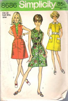 "Vintage 1970 Simplicity 8686 Mod Dress in Two Styles Sewing Pattern Size 10 Bust 32 1/2"" by Recycledelic1 on Etsy"