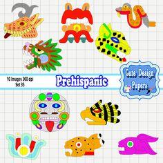 Máscaras prehispánicas, imagenes prehispánicas de colores, formas prehispanicas de CuteDesignPapers en Etsy