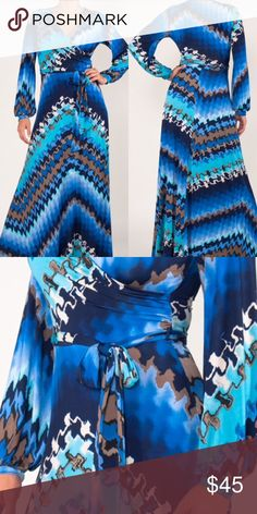 Boho Abstract Print Long Maxi Dress S M L Bohemian Long Maxi Dress   This mixed abstract print maxi dress features a faux wrap, belt sash, long sleeves and v neckline. Full length  Available in sizes:  Small (0,2,4) Medium (6,8) Large (10, 12) Extra Large / XL (14,16)  Stretch material  True to size   Great dress for work, casual date, vacation travel, cruise, wedding, etc Dresses Maxi