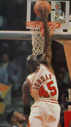 Out of retirement MJ slams against Orlando as Nick Anderson can only watch.