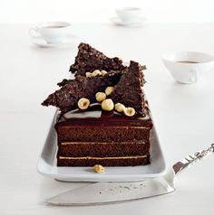Chocolate Hazelnut Cake with Praline Chocolate Crunch Photo - Romantic Desserts Recipe | Epicurious.com