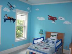 Bright blue Airplane Themed Bedroom