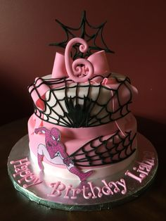 Pink Spiderman Cake