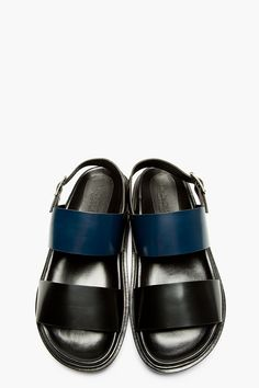 MARNI Black & Navy Colorblocked Leather Sandals
