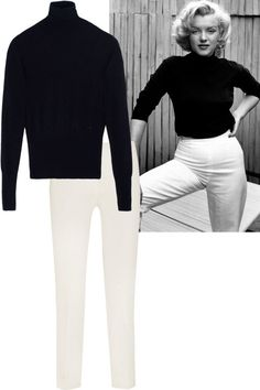 15 classic Old Hollywood outfits that will never go out of style: Marilyn Monroe's black turtleneck and white pants. Shop the look here: