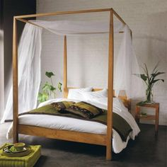 Himmelbett ikea edland  Off-white wooden four poster bed 160 x 200 cm | Favourite Places ...
