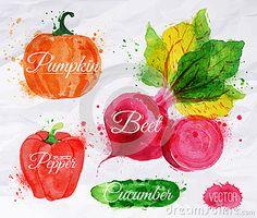 Vegetables watercolor corn, broccoli, chili,