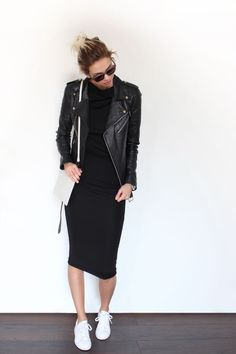 Black leather jacket with black midi dress College university outfit First day of Autumn outfit