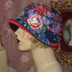 """""""SPECIAL ORDER FOR JOHNNIE"""" BLUE FLOWER EMBROIDERED CLOCHE FLAPPER HAT"""