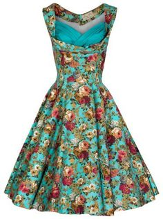 2fd3e2f4c6a0 Lindy Bop Women's Ophelia Turq Floral Dress: Amazon.co.uk: Clothing