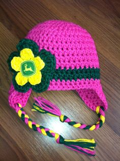 Crochet Pink or Purple John Deere Baby Girl Hat by gammyshouse, $20.00