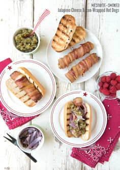 Mesquite-smoked Jalapeno Cheese Bacon-Wrapped Hot Dogs  - BoulderLocavore.com