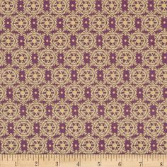 Designed by Lonni Rossi for Andover Fabrics, this cotton print includes colors of purple and gold with gold metallic accents throughout. Use for quilting, apparel and home decor accents.