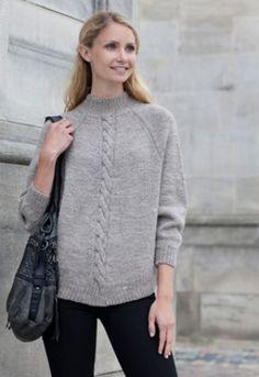 Familie Journal - strikkeopskrifter til hende Knitting Patterns Free, Free Knitting, Pullover, Knitting For Beginners, Knit Jacket, Pulls, Knit Crochet, Knitwear, Winter Fashion