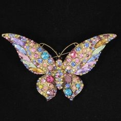 Gorgeous Multicolor Scalewing Butterfly Brooch Pin Women Rhinestone Crystal 4538