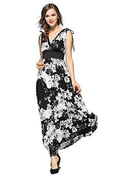 abfee5f189 Joy EnvyLand Women V Neck Floral Evening Party Prom Casual Cotton Maxi Dress