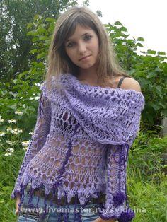 Купить блузон Фиолетовое настроение - ажурный свитер, ажурная кофта, вязаный свитер, вязаная кофта
