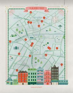 Hamburg city map illustration by Anna Härlin for CUT Magazine. Gravure Illustration, City Illustration, Dashboard Design, Ui Ux Design, Plan Ville, City Poster, City Branding, Map Projects, Stoff Design