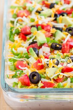 The BEST Skinny Taco Dip | Game Day Appetizer | Party Food | Lightened Up 7 Layer Dip