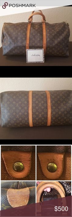 Louis Vuitton keepall 50 Grab this deal- summer is here- it's ready to hit the road with you on your travels.  Can do🅿️🅿️  Used condition. Besides the cracking of the leather this bag is still in good condition with a ton of life left.  Leather shows cracking, handles show cracking and water marks. Handles have a few black stains. Canvas is in good shape. Over its just the typical wear of the leather which can be replace and your nearest LV store. I cleaned and conditioned this beauty. Has…