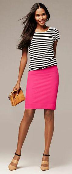 Bold Pink Pencil Skirt & Stripe Metallic Trim Tee