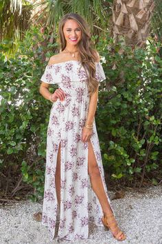 Delighted To See You Off The Shoulder Maxi Dress