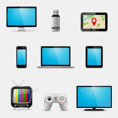 Electronic Devices and Multimedia Gadgets Icons - Man-made Objects Objects