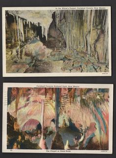 2 CARLSBAD CAVERNS NEW MEXICO Linen Curteich Postcards  1930s/1940s