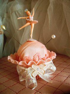 Sweet ballerina doll pincushion idea! :)