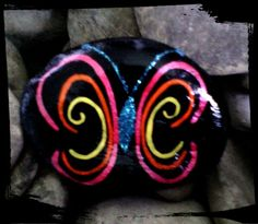 Schmetterling/Butterfly Bemalter Stein/painted stone made by Kathleen Podzorsky