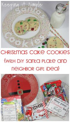 Cookies for Santa Recipe.  Christmas cake cookies with DIY Santa plate and neighbor gift idea with printables. #pickyourplum #bakerstwine