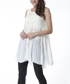 Loving this Simply Couture White Crochet Swing Top on #zulily! #zulilyfinds