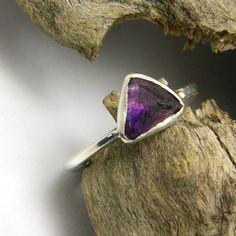 Raw amethyst ring sterling silver rough stone by nikiforosnelly