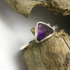 Raw amethyst ring sterling silver rough stone by nikiforosnelly