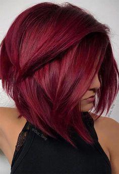 Burgundy Hair Color Shades: Wine/ Maroon/ Burgundy Hair Dye Tips rotblond Short Red Hair, Stylish Short Hair, Short Hairstyles For Thick Hair, Short Hair Cuts, Short Hair Styles, Easy Hairstyles, Red Bob Hair, Trendy Hair, Hairstyle Ideas