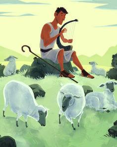 David Was a Shepherd Boy Hour A Lesson Plan - Children's Bible Activities Bible Story Crafts, Bible Stories, Kids Church Decor, David Bible, Bible Illustrations, Boy Illustration, Sunday School, Middle School, High School