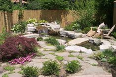 back yard pond seating stones fence flowers plants outdoor area contemporary landscape of Charmingly Beautiful Back Yard Ponds to Take a Long Look At