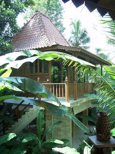 A modern house resembling a Joglo Java traditional house