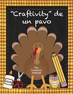 """""""Craftivity"""" día de acción de gracias. Diferentes manualidades para hacer con tus estudiantes y pegarlos en tu puerta del salón, o bien, en el mural del colegio/sala de clases."""