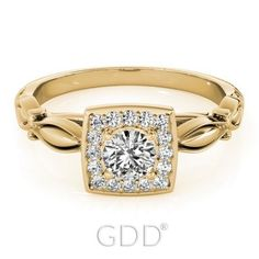 VINTAGE SEMI MOUNTS DIAMONDS ENGAGEMENT HALO 14K GOLD RINGS