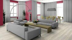 Eine ruhige und minimalistische Einrichtung kann man stilvoll mit farbiger Unitapete erstrahlen lassen.