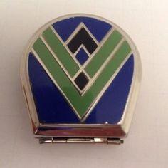 *Vintage Art Deco Make-Up Powder Compact Blue/Green Enamel W/ Metal. (ba10172) (11/01/2014)