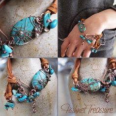 Fishnet Treasure Bracelet, love the leather and stones together....
