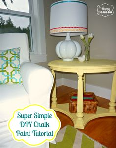 Super Simple DIY Chalk Paint Tutorial at thehappyhousie