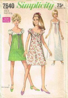 Simplicity 7640 Empire Waist A Line Dress Deep Scoop Neckline Puff Sleeve Sewing…